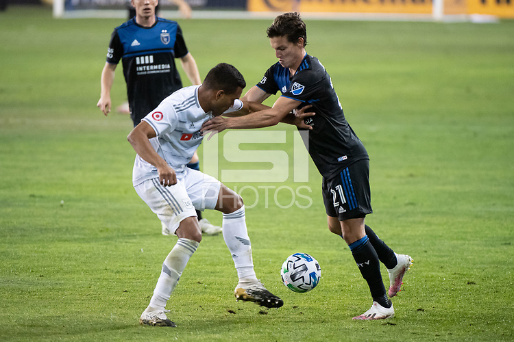 SAN JOSE, CA - NOVEMBER 04: Eddie Segura #4 of the Los Angeles FC battles Carlos Fierro #21 of the San Jose Earthquakes for the ball during a game between Los Angeles FC and San Jose Earthquakes at Earthquakes Stadium on November 04, 2020 in San Jose, California.
