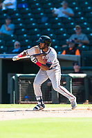 Peoria Javelinas right fielder Izzy Wilson (7), of the Atlanta Braves organization, shows bunt during an Arizona Fall League game against the Surprise Saguaros at Surprise Stadium on October 17, 2018 in Surprise, Arizona. (Zachary Lucy/Four Seam Images)