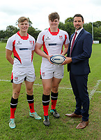 Ulster Rugby Schools 2018-2019<br /> <br /> Campbell College players Paddy McAlpine and Conor Rankin with Danske Bank representative Ian Russell.<br /> <br /> Photo by John Dickson / DICKSONDIGITAL