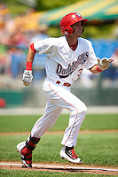 Auburn Doubledays shortstop Clayton Brandt (3) runs to first base during a game against the Vermont Lake Monsters on July 13, 2016 at Falcon Park in Auburn, New York.  Auburn defeated Vermont 8-4.  (Mike Janes/Four Seam Images)