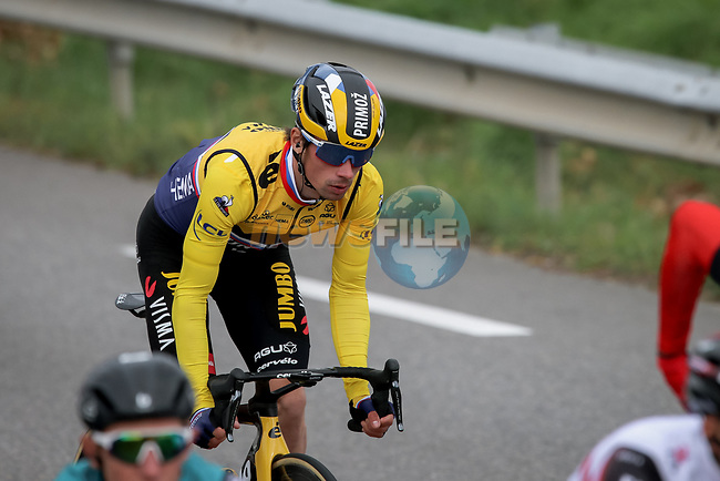 The peloton including Yellow Jersey Primoz Rogloc (SLO) Team Jumbo-Visma during Stage 5 of Paris-Nice 2021, running 200km from Vienne to Bollene, France. 11th March 2021.<br /> Picture: ASO/Fabien Boukla | Cyclefile<br /> <br /> All photos usage must carry mandatory copyright credit (© Cyclefile | ASO/Fabien Boukla)