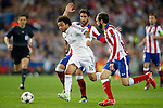 Atletico de Madrid's Raul Garcia (b) and Juanfran Torres (r) and Real Madrid's Marcelo Vieira during Champions League 2014/2015 Quarter-finals 1st leg match.April 14,2015. (ALTERPHOTOS/Acero)