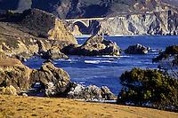 A bridge coast scene near Monteray along the coast higway 101 in California