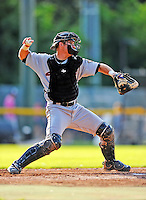 2 July 2011: Tri-City ValleyCats catcher Miles Hamblin in action against the Vermont Lake Monsters at Centennial Field in Burlington, Vermont. The Monsters rallied from a 4-2 deficit to defeat the ValletCats 7-4 in NY Penn League action. Mandatory Credit: Ed Wolfstein Photo