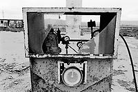 Azerbaijan. Baku Region. Garadag is 18 km distant from Baku. An old derelict filling station. Deserted gas and petrol station. Fuel pump. © 2007 Didier Ruef