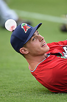 Fort Myers Miracle outfielder Max Kepler (20) is the target of a prank during stretch before a game against the Tampa Yankees on April 15, 2015 at Hammond Stadium in Fort Myers, Florida.  Tampa defeated Fort Myers 3-1 in eleven innings.  (Mike Janes/Four Seam Images)