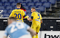 Hellas Verona s Federico Dimarco, right, celebrates with his teammate Mattia Zaccagni after scoring during the Serie A soccer match between Lazio and Hellas Verona at Rome's Olympic Stadium, December 12, 2020.<br /> UPDATE IMAGES PRESS/Riccardo De Luca
