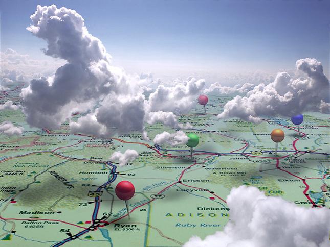 Landscape map with pushpins