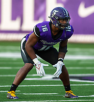 Emanuell Powell (16) of Fayetteville committed to Razorbacks plays linebacker at Harmon Field , AR, on Friday,September 10, 2021 / Special to NWADG David Beach