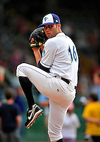 22 June 2009: Vermont Lake Monsters' pitcher Adrian Alaniz warms up prior to facing the Tri-City ValleyCats at Historic Centennial Field in Burlington, Vermont. The Lake Monsters defeated the visiting ValleyCats 5-4 in extra innings. Mandatory Photo Credit: Ed Wolfstein Photo