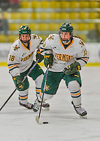 14 February 2015: University of Vermont Catamount Defender Gina Repaci, a Junior from Toronto, Ontario, leads a first period rush against the University of New Hampshire Wildcats at Gutterson Fieldhouse in Burlington, Vermont. The Lady Catamounts rallied from a 3-1 deficit to earn a 3-3 tie in the final home game of their NCAA Hockey East season. Mandatory Credit: Ed Wolfstein Photo *** RAW (NEF) Image File Available ***