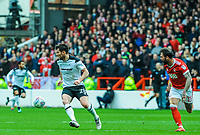 Derby County's forward David Nugent (28) holds the ball up with Nottingham Forest's defender Danny Fox (13) behind during the Sky Bet Championship match between Nottingham Forest and Derby County at the City Ground, Nottingham, England on 10 March 2018. Photo by Stephen Buckley / PRiME Media Images.