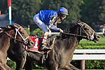 5 September 2009: Pyro and jockey John Velazquez winning the Forego Stakes at Saratoga Race Track in Saratoga Springs, New York.