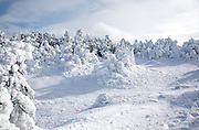 Appalachian Trail - The summit of Carter Dome in winter conditions in the White Mountains, New Hampshire USA