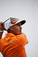 20.07.2014. Hoylake, England. Rickie Fowler of United States watches his shot on the 12th hole during the final round of the 143rd British Open Championship at Royal Liverpool Golf Club in Hoylake, England.