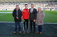 SWANSEA, WALES - FEBRUARY 07: Lee Trundle (3rd L) before the Premier League match between Swansea City and Sunderland AFC at Liberty Stadium on February 7, 2015 in Swansea, Wales.