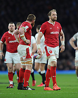 Alun Wyn Jones (c) of Wales reacts as Jake Ball of Wales is penalised during the Guinness Six Nations match between England and Wales at Twickenham Stadium on Saturday 7th March 2020 (Photo by Rob Munro/Stewart Communications)