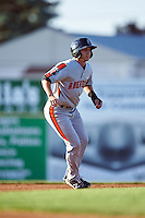 Aberdeen Ironbirds center fielder Cole Billingsley (4) leads off second base during a game against the Batavia Muckdogs on July 14, 2016 at Dwyer Stadium in Batavia, New York.  Aberdeen defeated Batavia 8-2. (Mike Janes/Four Seam Images)