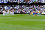 Real Madrid´s players and Valencia´s players keep a silence minute during 2014-15 La Liga match between Real Madrid and Valencia at Santiago Bernabeu stadium in Madrid, Spain. May 09, 2015. (ALTERPHOTOS/Luis Fernandez)