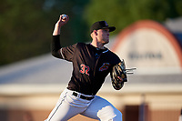 Batavia Muckdogs starting pitcher Remey Reed (32) during a NY-Penn League game against the West Virginia Black Bears on June 27, 2019 at Dwyer Stadium in Batavia, New York.  West Virginia defeated Batavia 6-5 in ten innings.  (Mike Janes/Four Seam Images)