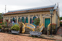 """Can Tho historical Building.<br /> Binh Thuy Ancient House located in Can Tho in the Mekong Delta<br /> The French-style house was built in 1870 by the Duong family on an area of nearly 6,000 sq m. Its base is about one metre higher than the land surface. <br /> The house is now preserved by Duong Minh Hien, the sixth generation of the Duong family. <br /> Binh Thuy ancient house has been captured in many films such as """"The silt ways,"""" """"The Bac Lieu mandarin's son"""" and """"The lover"""" of French director J. Annaud."""