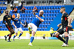 St Johnstone v Rangers…11.09.21  McDiarmid Park    SPFL<br />Chris Kane misses a chance to shoot at goal<br />Picture by Graeme Hart.<br />Copyright Perthshire Picture Agency<br />Tel: 01738 623350  Mobile: 07990 594431