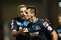 Filipe Morais of Stevenage scores the opening goal and celebrates with Simon Heslop<br />  - Crewe Alexandra v Stevenage - Sky Bet League One - Alexandra Stadium, Gresty Road, Crewe - 22nd October 2013. <br /> © Kevin Coleman 2013
