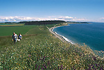 Puget Sound, Ebey's Landing National Historical Reserve, Whidbey Island, Washington State, Pacific Northwest, USA, hikers on the Reserve trail, active farms, fields preserved through the Reserve development rights,
