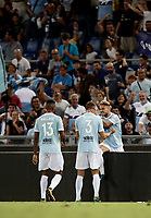 Calcio, Football - Juventus vs Lazio Italian Super Cup Final  <br /> Lazio's Ciro Immobile celebrates after scoring with his teamates during the Italian Super Cup Final football match between Juventus and Lazio at Rome's Olympic stadium, on August 13, 2017.<br /> UPDATE IMAGES PRESS/Isabella Bonotto