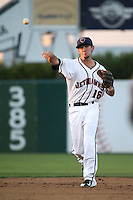 Keach Ballard (16) of the Lancaster JetHawks makes a throw during a game against the Lake Elsinore Storm at The Hanger on August 2, 2016 in Lancaster, California. Lake Elsinore defeated Lancaster, 10-9. (Larry Goren/Four Seam Images)