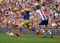 Sunday 01 September 2013<br /> Pictured L-R:  Jonjo Shelvey of Swansea against Billy Jones of West Brom.<br /> Re: Barclay's Premier League, West Bromwich Albion v Swansea City FC at The Hawthorns, Birmingham, UK.