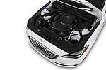 Car stock 2019 Genesis G80 RWD 4 Door Sedan engine high angle detail view