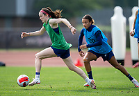 CLEVELAND, OH - SEPTEMBER 14: Rose Lavelle of the United States dribbles during a training session at the training fields on September 14, 2021 in Cleveland, Ohio.
