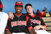 Batavia Muckdogs Alex Carreras and Ryan Aper before a game against the Mahoning Valley Scrappers on August 22, 2014 at Dwyer Stadium in Batavia, New York.  Mahoning Valley defeated Batavia 2-1.  (Mike Janes/Four Seam Images)