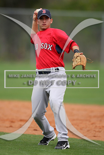March 18, 2010:  Second Baseman Joantoni Garcia of the Boston Red Sox organization during Spring Training at Ft.  Myers Training Complex in Fort Myers, FL.  Photo By Mike Janes/Four Seam Images
