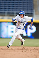 Zack Kone (2) of the Duke Blue Devils hustles towards third base against the California Golden Bears at Durham Bulls Athletic Park on February 20, 2016 in Durham, North Carolina.  The Blue Devils defeated the Golden Bears 6-5 in 10 innings.  (Brian Westerholt/Four Seam Images)