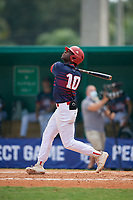 David Jefferson (10) during the WWBA World Championship at Terry Park on October 8, 2020 in Fort Myers, Florida.  David Jefferson, a resident of Bethesda, Maryland who attends St. Johns College High School, is committed to Notre Dame.  (Mike Janes/Four Seam Images)
