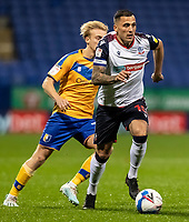 Bolton Wanderers' Antoni Sarcevic breaks away from Mansfield Town's George Lapslie (left) <br /> <br /> Photographer Andrew Kearns/CameraSport<br /> <br /> The EFL Sky Bet League Two - Bolton Wanderers v Mansfield Town - Tuesday 3rd November 2020 - University of Bolton Stadium - Bolton<br /> <br /> World Copyright © 2020 CameraSport. All rights reserved. 43 Linden Ave. Countesthorpe. Leicester. England. LE8 5PG - Tel: +44 (0) 116 277 4147 - admin@camerasport.com - www.camerasport.com