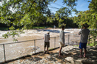 """Flood Waters slam Barton Springs Pool during Austin's Halloween Flooding where where 5"""" to 5.50"""" of rain fell from October 30th to early October 31st, 2013, leaving devastating flooding of Austin's beloved natural springs swimming pool."""