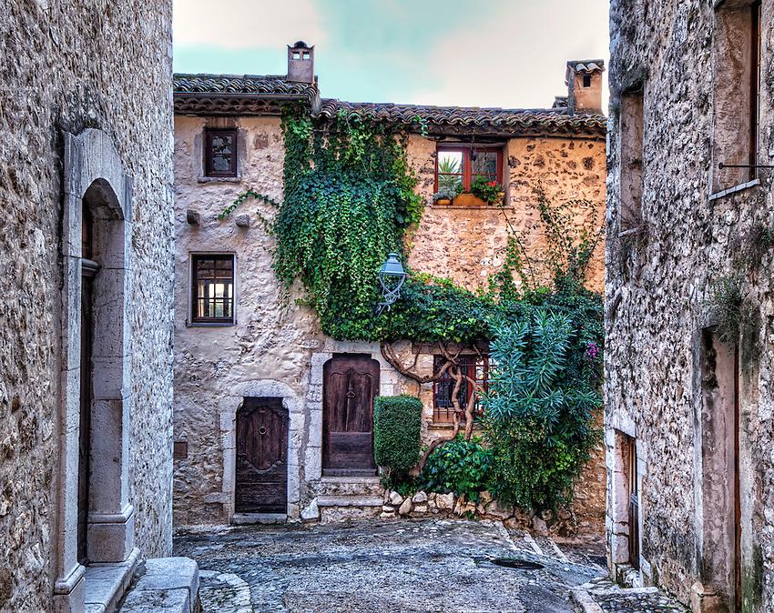 Façades of houses in Saint Paul-de-Vence, Côte d'Azur, France