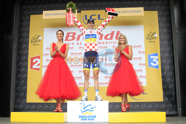 Michael Morkov (DEN) Saxo Bank-Tinkoff Bank retains the climbers Polka Dot Jersey at the end of Stage 3 of the 99th edition of the Tour de France 2012, running 197km from Orchies to Boulogne-sur-Mere, France. 3rd July 2012.<br /> (Photo by Eoin Clarke/NEWSFILE)