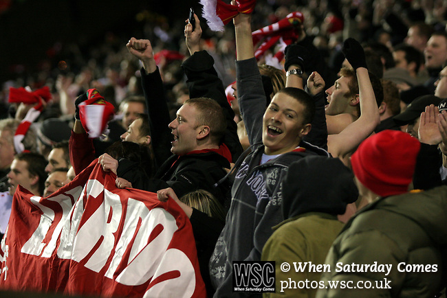 Birmingham City 0 Liverpool 7, 21/03/2006. St Andrews, FA Cup 6th Round. Birmingham City (blue) versus Liverpool,  The home side lost 0-7. Picture shows Liverpool fans celebrate yet another goal. Photo by Colin McPherson.