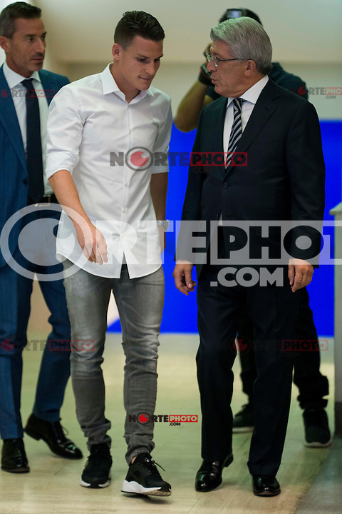 French football player Kevin Gameiro and president of Atletico de Madrid, Enrique Cerezo during the presentation of the new Atletico de Madrid's football player for the next season 2016-2017 at Vicente Calderon Stadium in Madrid. July 31, Spain. 2016. (ALTERPHOTOS/BorjaB.Hojas) /NORTEPHOTO.COM