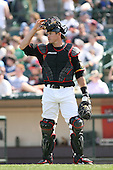 April 17th, 2008:  Catcher Eli Whiteside (39) of the Rochester Red Wings, Class-AAA affiliate of the Minnesota Twins, in the field during a game at Frontier Field in Rochester, NY.  Photo by:  Mike Janes/Four Seam Images