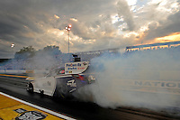 Sept. 30, 2011; Mohnton, PA, USA: NHRA funny car driver Leah Pruett during qualifying for the Auto Plus Nationals at Maple Grove Raceway. Mandatory Credit: Mark J. Rebilas-