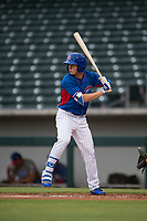AZL Cubs 2 center fielder Cole Roederer (34) at bat during an Arizona League game against the AZL Rangers at Sloan Park on July 7, 2018 in Mesa, Arizona. AZL Rangers defeated AZL Cubs 2 11-2. (Zachary Lucy/Four Seam Images)