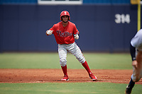 GCL Phillies East Luis Matos (25) leads off during a Gulf Coast League game against the GCL Yankees East on July 31, 2019 at Yankees Minor League Complex in Tampa, Florida.  GCL Phillies East defeated the GCL Yankees East 4-3 in the second game of a doubleheader.  (Mike Janes/Four Seam Images)