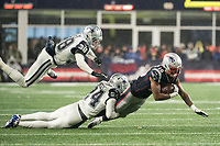 FOXBOROUGH, MA - NOVEMBER 24: Dallas Cowboys Cornerback Chidobe Awuzie #24 tackles New England Patriots Wide Receiver Jakobi Meyers #16 during a game between Dallas Cowboys and New England Patriots at Gillettes on November 24, 2019 in Foxborough, Massachusetts.