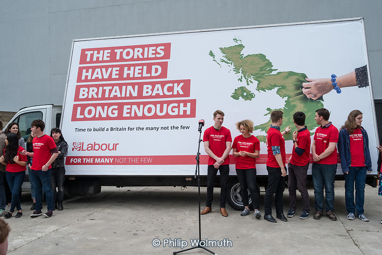 Jeremy Corbyn cancels an appearance at the Labour Party general election campaign poster launch, London, after leak of party manifesto.
