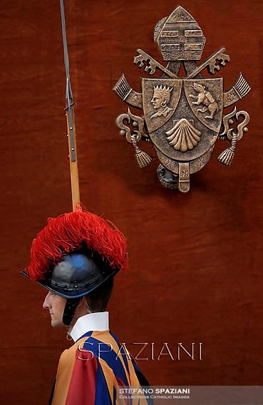 Pontifical Swiss Guard,Pope Benedict XVI during his weekly general audience in the courtyard of his summer residence of Castelgandolfo, 40 kms south-east of Rome,   on August 22, 2012.